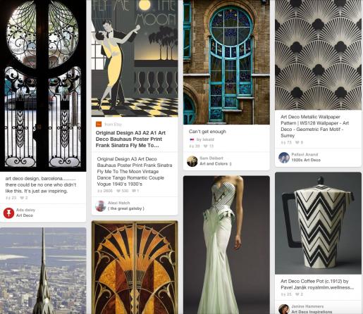 I mangel af fotos af genstandene er her et klip fra en Pinterest søgning på art deco.