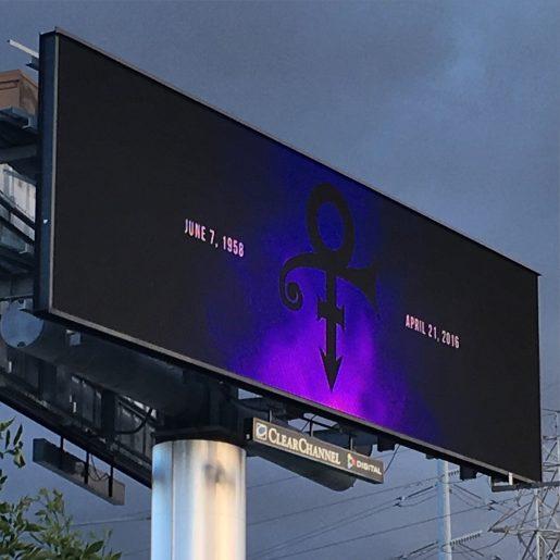 Jeg var i Californien, da Prince døde. Dette er et reklame-billboard i San Jose.