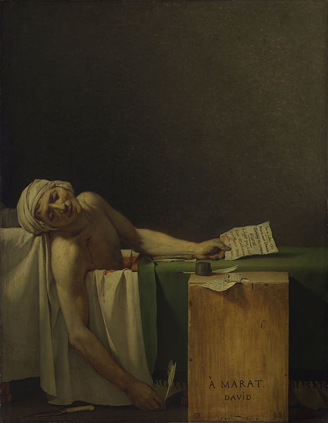 Jacques-Louis David: Marat assassinated, 1793. Wikimedia.