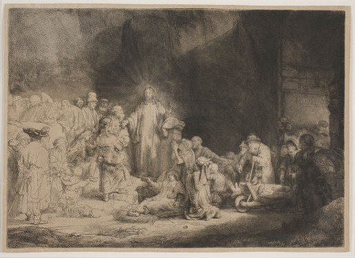 """Rembrandt van Rijn (1606-1669), Christus helbreder de syge. """"Hundredgyldenbladet"""", About 1649"""
